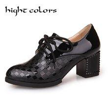 82f4b80ab جديد 2019 الربيع الخريف أوكسفورد أحذية ل حذاء نسائي بكعب عالٍ الأزياء  براءات أحذية من الجلد السيدات أحذية مدرسة عارضة العلامة ال.