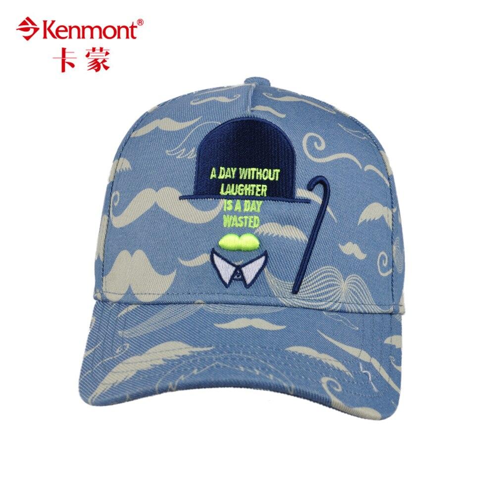 Kenmont Unisex Blue Grey Cotton Cartoon Moustache Novelty Baseball Cap 3182