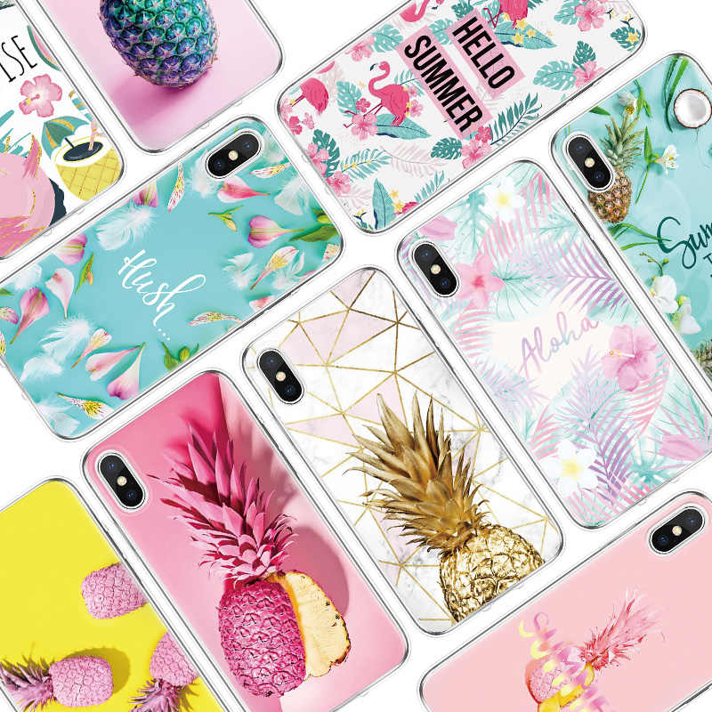 Ananas Flamingo Clear TPU Telefoon Gevallen Voor iPhone 7 8 6 6S Plus Voor iPhone 11 Pro XS Max XR X 4 4S 5 5S SE 5C Case Cover Coque