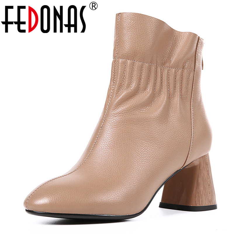 FEDONAS New Women Basic Boots High Heels Zipper Elegant Office Pumps Genuine Leather Autumn Winter Shoes Woman Ankle Boots 2018 new arrival genuine leather zipper runway autumn winter boots round toe high heels keep warm elegant women ankle boots l29