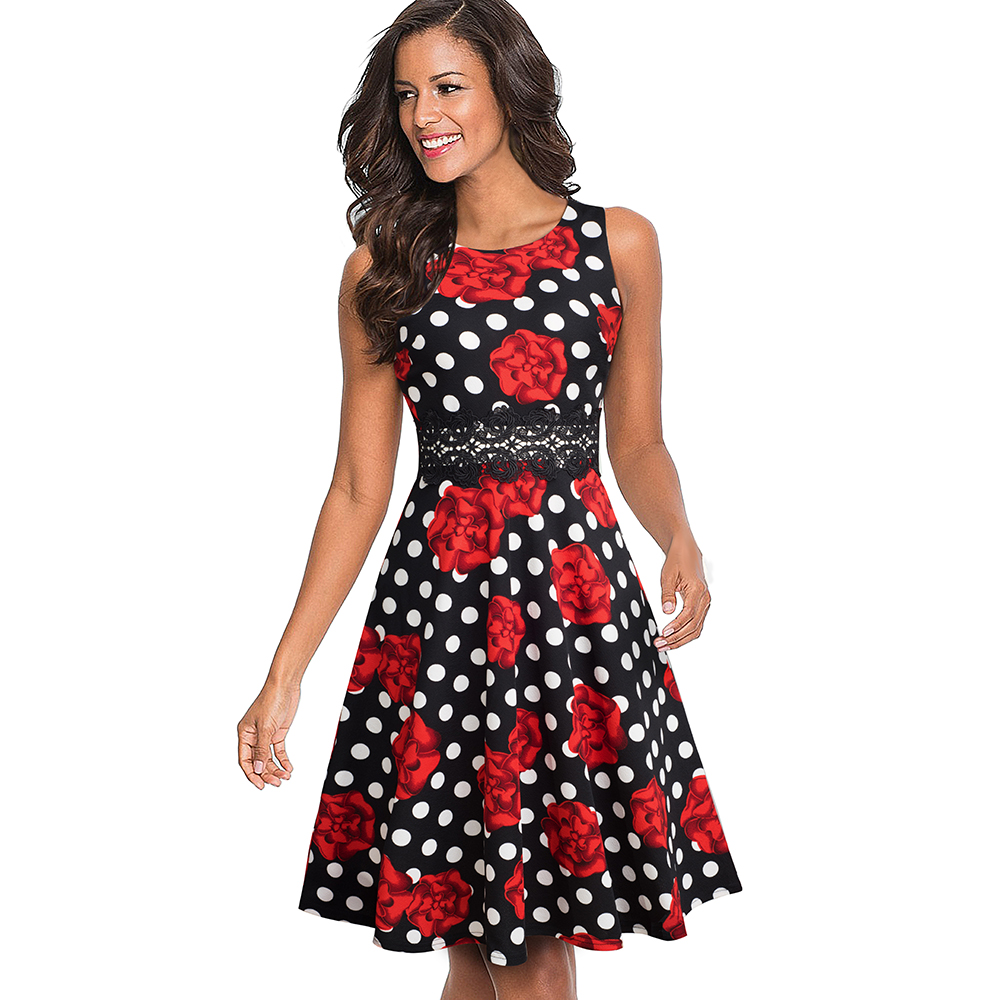 Nice-forever Vintage Elegant Embroidery Floral Lace Patchwork vestidos A-Line Pinup Business Women Party Flare Swing Dress A079 112