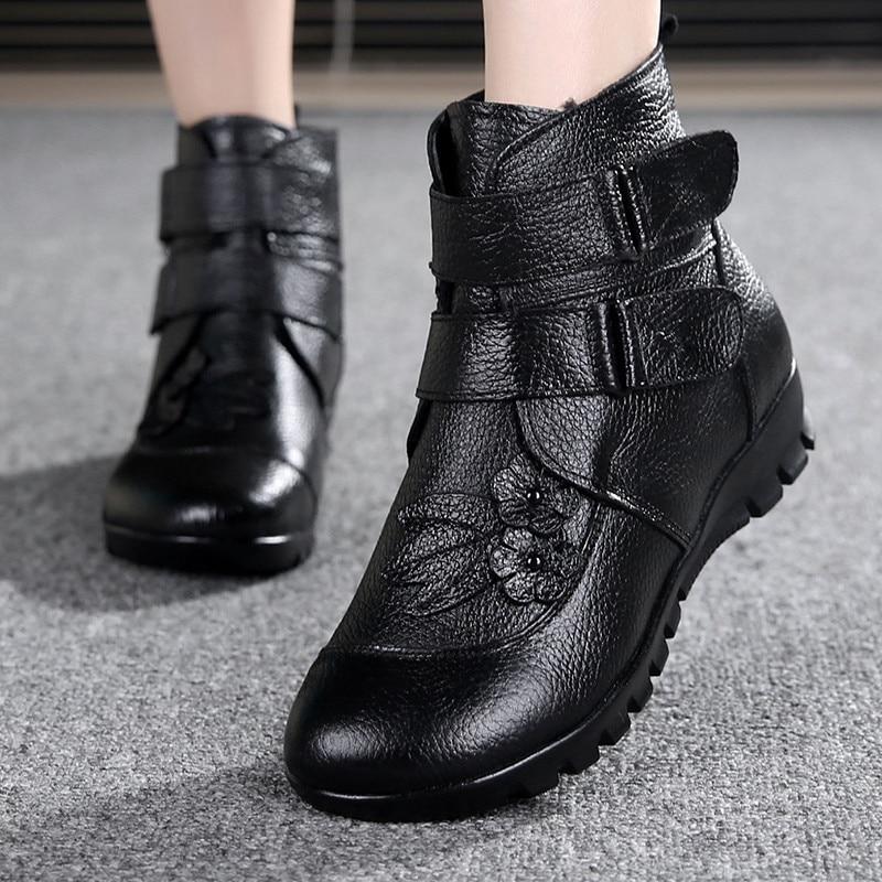 marron Bottes Noir Cales Mère Yierfa Femme Neige Chaussures Cheville Hiver Véritable Appartements Casual En Mode Cuir Chaud Non slip Femmes xw8XHBq