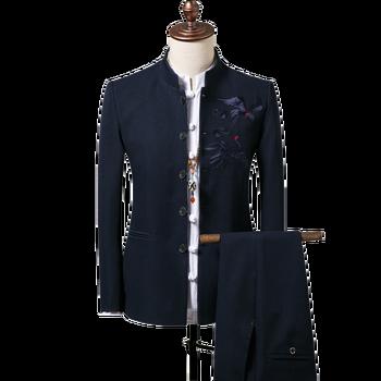 4 Colors Plus Size 4XL Wedding Suits For Men Long Sleeve Jacket + Pants Chinese Collar Tunic Suit Set 2pcs Office Wear XXXXL