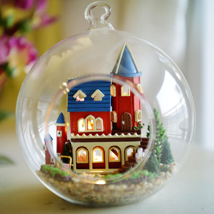 DIY Glass Ball Doll House Model Building Wooden Mini Handmade Miniature Dollhouse Toy Birthday Greative Gift