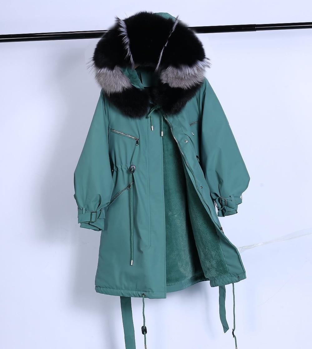 Large Natural Raccoon Fur Winter Jacket Women Hooded 19 Long Parkas For Female Thick Slim Down Winter Coat Women Waterproof 30