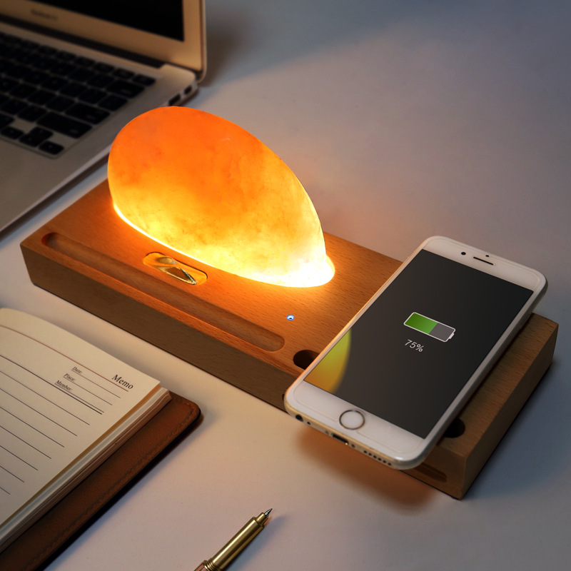 Ore Salt Lamp Atmosphere LED Lamp Qi Wireless Charging Pad Cell Phone Charger Holder Stand Foldable Desktop Light for iPhone X8Ore Salt Lamp Atmosphere LED Lamp Qi Wireless Charging Pad Cell Phone Charger Holder Stand Foldable Desktop Light for iPhone X8