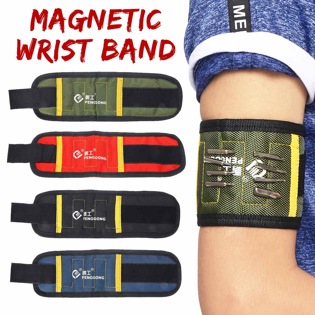 New Magnetic Wristband Portable Tool Bag Screw Nail Holder Wrist Band Tool Belt Screws Nails Drill Bits Bracelet For Repair Tool