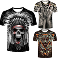 New Painted skull Design Men's T shirt Cool Fashion Tops Short Sleeve Tees Halloween Polyester o-neck male t-shirt