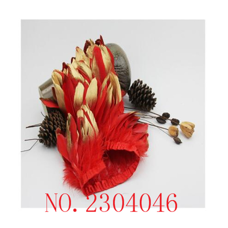 17 years new 2 meters long red goose feathers dip gold head made from cloth side DIY dress headdress down decoration