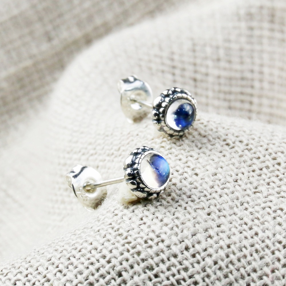 2018 Direct Selling L&p Earring Fashion Natural Moonstone 925 Sterling Stud Earrings For Women Jewelry Wholesale Gift Hot Sale 2018 direct selling hot sale plus size korean original summer blouse sleeved big sizes slim fashionable women shirts wholesale