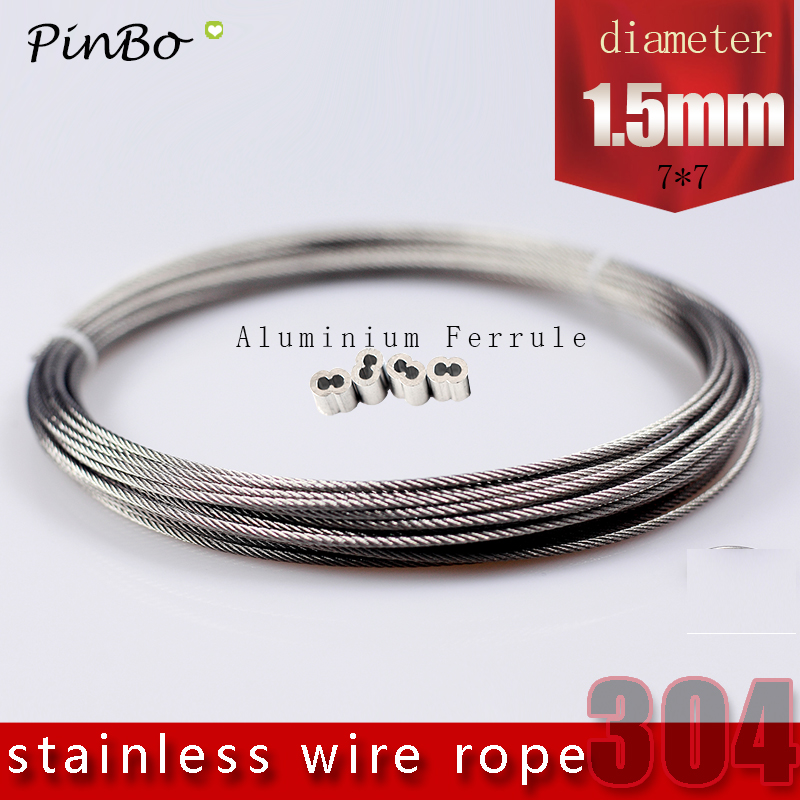 50M 304 stainless steel wire rope alambre cable softer fishing lifting cable 7X7 Structure 1.5mm diameter 1 2mm dia 7x7 5 2m long flexible stainless steel wire cable for grinder