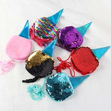 New Sequins Ice Cream Kids Shoulder Coin Bag Baby Girls Mini Messenger Bag Cartoon Boys Small Coin Purse Children Handbags