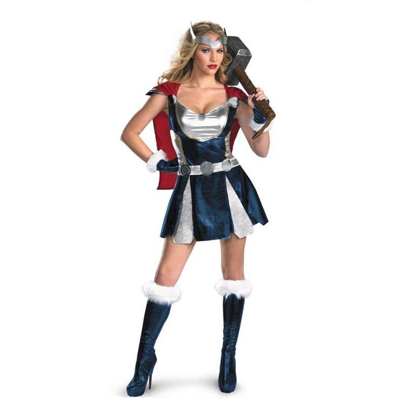 Thor costume women Girl halloween fancy female cosplay Costume With Cloak superhero female Thor Marvel Comics