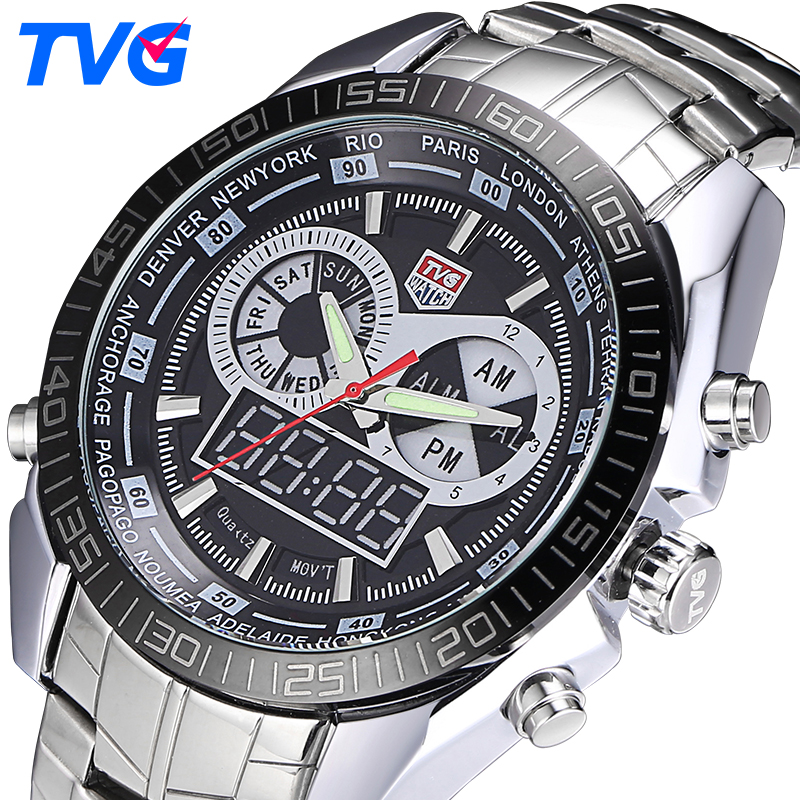 Top Brand TVG  Military Sports Watches Mens Quartz Analog LED watch wrist stainless steel Clock Men Army Wristwatch 2PCS/lot tvg mens watches top brand luxury military fashion business quartz watch men stainless steel sport waterproof wrist watch