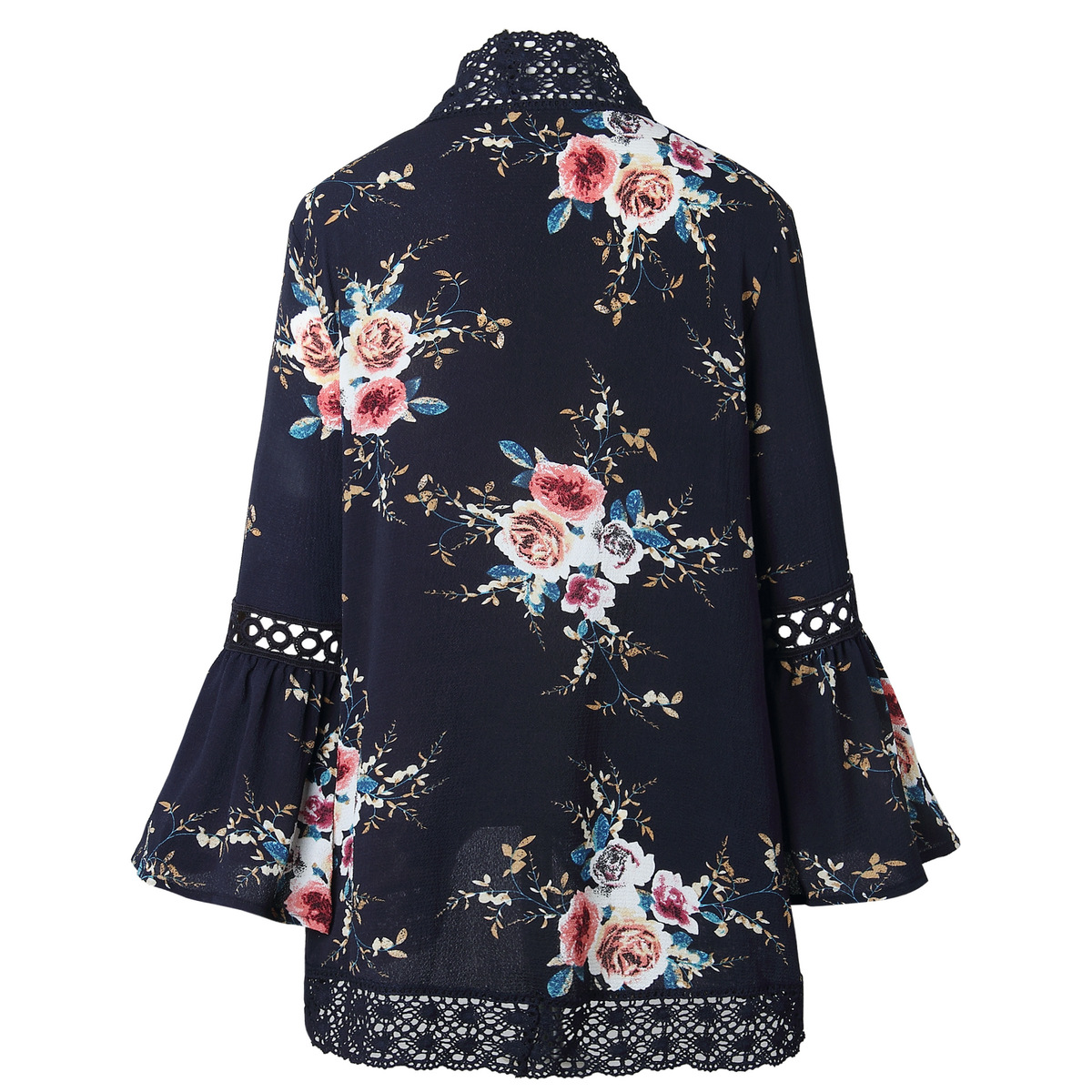HTB1sql v2iSBuNkSnhJq6zDcpXaT Women Plus Size Loose Casual Basic Jackets Female 2018 Autumn Long Flare Sleeve Floral Print Outwear Coat Open Stitch Clothing