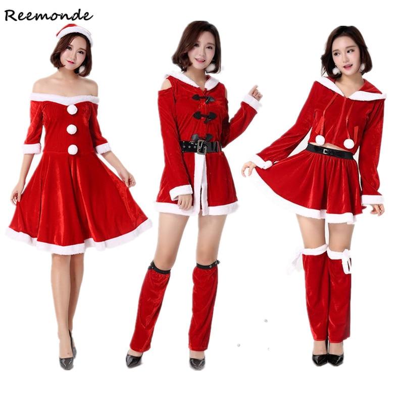 Christmas Santa Claus Cosplay Costumes Cashmere Velvet Dresses Hats Belt Set Uniform Adults Women Girls Halloween Party Clothes