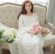 High-end Women Nightdress Thin Womens Dresses For Sleep Ladies Sleepwear Long Chiffon Dress Female Ladies Lounge T347