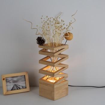 الإبداعية الرجعية الأمريكية الخشب الجدول مصابيح السرير ضوء الفن أضواء القراءة امب ديكور مكتب مصباح Led 220 فولت