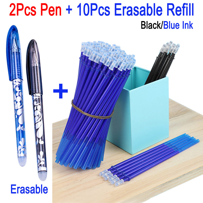 12Pcs/Set 0.5mm Erasable Pen Refill Rod Blue/Black/Red Ink Gel Pen Refill Washable For School Office Supplies Writing Stationery