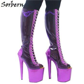Sorbern Transparent Pvc Knee High Boots Cross Strap Platform Open Toe Shoes Females High Heel Custom Color Shiny Fetish Shoes