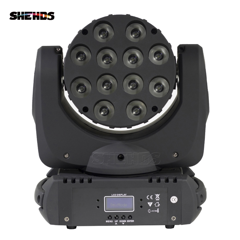 SHEHDS LED Beam Moving Head Light 12x12w RGBW 4in1 Quad LED Lamp Advanced 9/16 DMX Channels For Professional Stage DJ Disco
