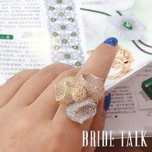 יוקרה גדול טבעות מעוקב זירקון כלה Trifolium פרח חתונת טבעת אירוסין טבעות נשים תכשיטי אבזרים סיטונאי