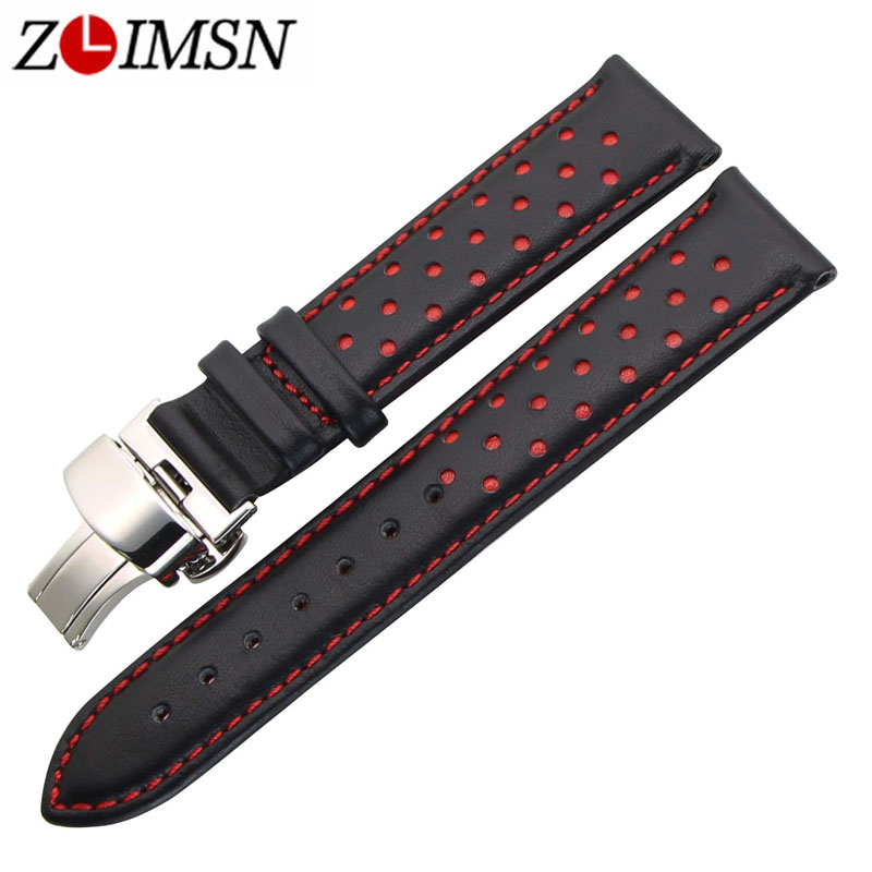 ZLIMSN Men's Watch Band Strap Genuine Leather Replacement Black Blue 20 22mm Watchbands 316L Stainless Steel Butterfly Buckle 18 20 22mm genuine leather outdoor replacement black watch strap men band soft stainless steel butterfly buckle 2 spring bars