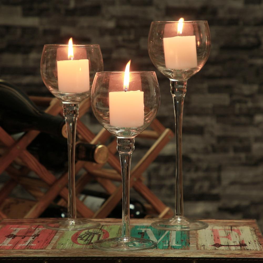 3PCS Set Crystal Glass Candle Holder Candelabro De Vela ...