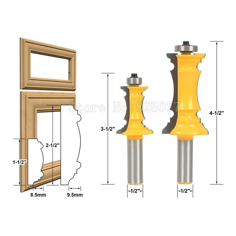 "Купить с кэшбэком 2Pcs 1/2"" Shank Mitered Door & Drawer Panel Molding Router Bit Set Woodworking Milling Cutter Router Bit Set JF1475"
