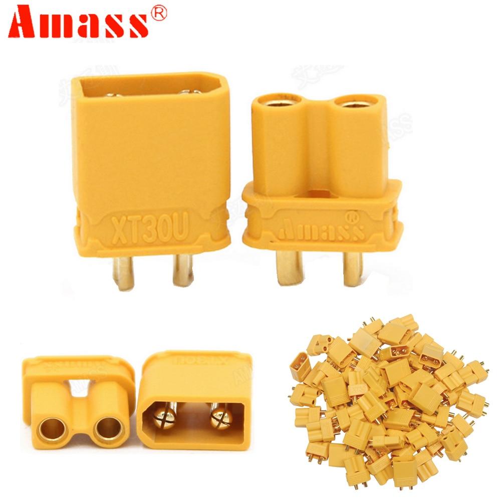 цена на 100pcs/lot  Amass XT30U 2mm Antiskid Plug Connector Male+Female 2mm Golden Connector / Plug  Upgrade XT30 ( 50 Pair )
