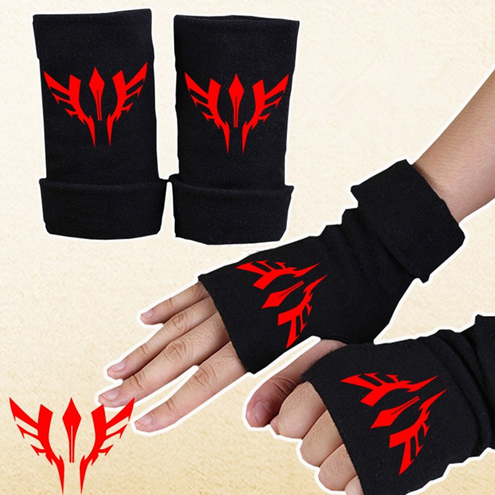 Fashion Cotton Gloves Solid Color Couple Warm Half Finger Gloves Anime Black Gloves couple s capacitive screen touching hand warmer gloves deep pink black free size 2 pairs