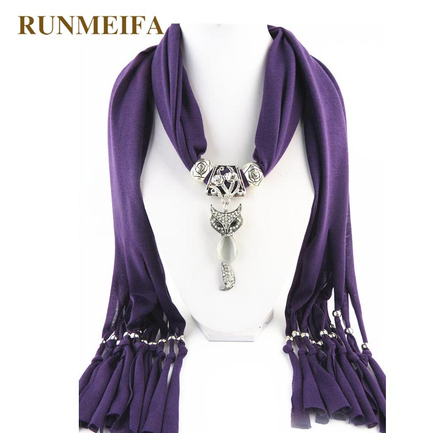 RUNMEIFA Jewelry Pendant Scarf New Design The Beautiful Animal Pendant Solid Scarf Polyester Scarf All Seasons Apply