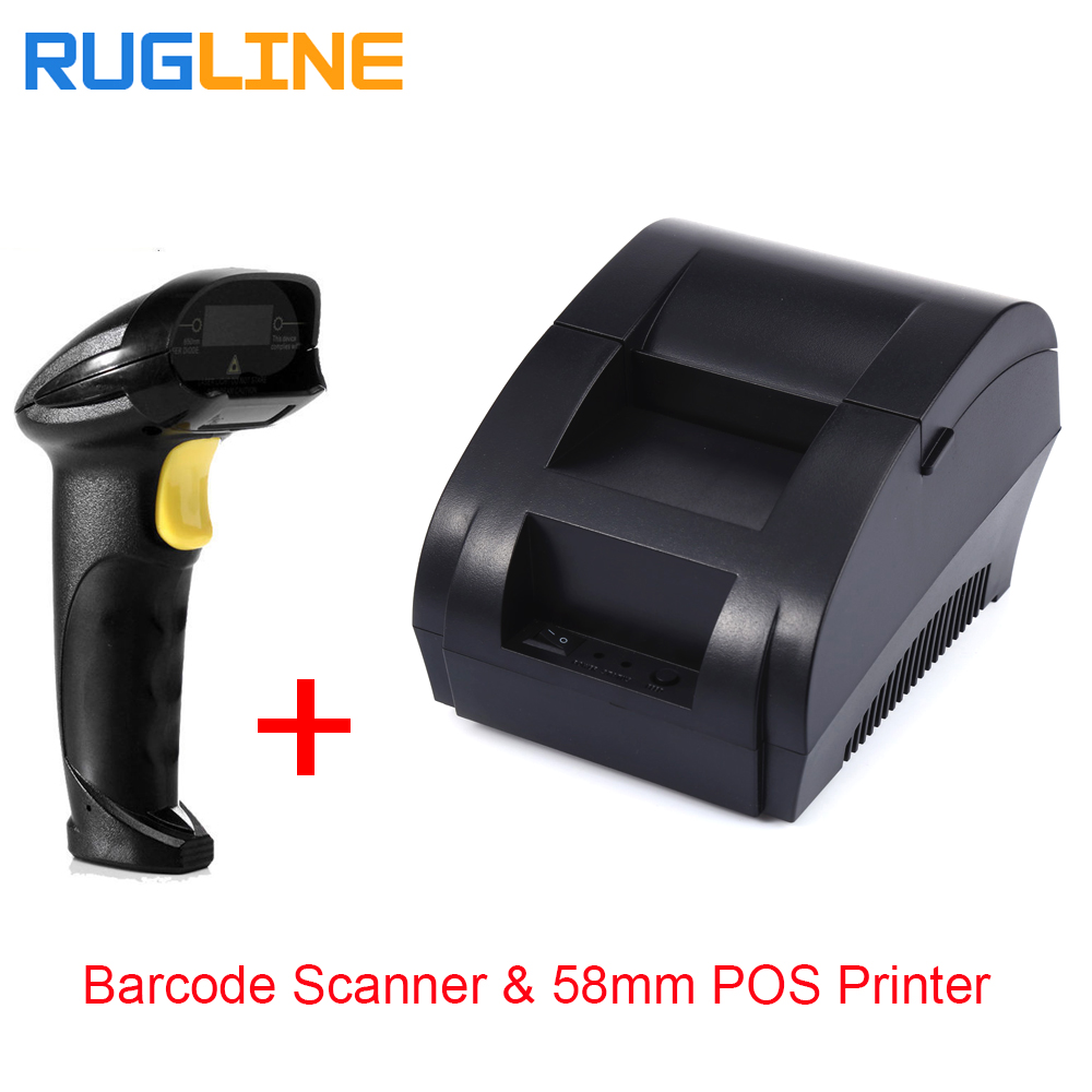 цены Free shipping usb port Barcode scanner and 2 inch 58mm thermal receipt printer pos for retail supermarket