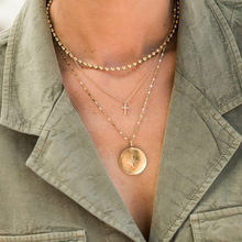 Cuteeco 2019 Bohemian Cross Beaded Round Pendant Multilayer Gold Necklace Women Fashion Simple Jewelry Accessories Lover Gift