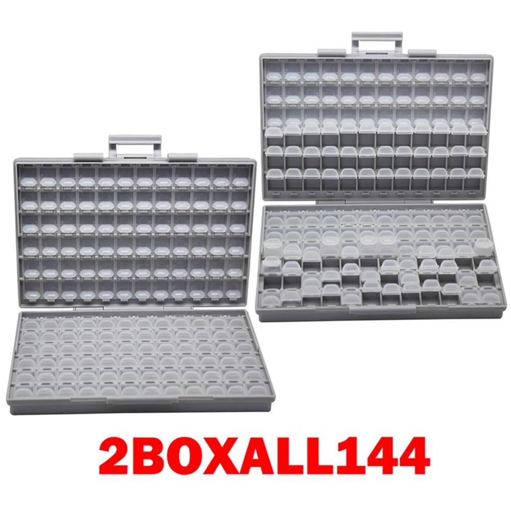 AideTek 2 корпуса поверхностного монтажа резистор конденсатор Электроника хранения ящики и органайзеры 0805 0603 пластиковые инструменты коробка 2 коробки - Цвет: 2BOXALL144