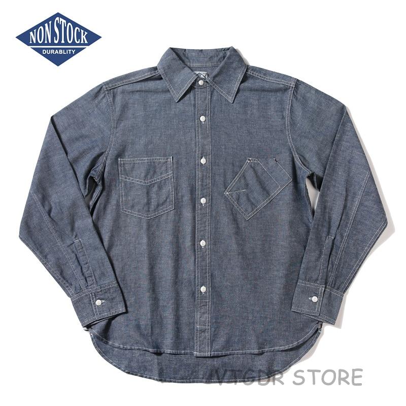 Non Stock hommes 6.5 oz Selvage Chambray chemise de travail automne décontracté chemise à manches longues