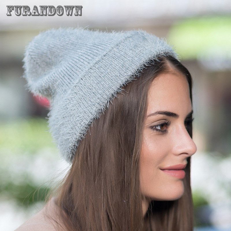 Women's Winter Hat   Skullies     Beanies   Warm Mohair Knitted Hats Autumn Casual Girls   Beanie   Hat 2017 New