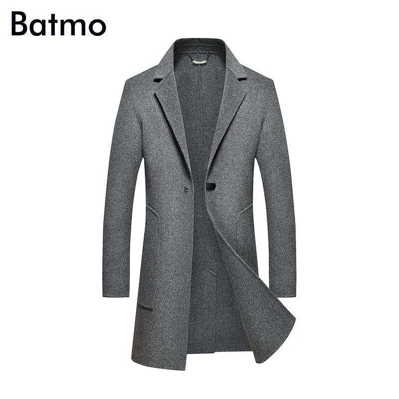 Batmo 2018 nouveauté hiver haute qualité double face laine décontracté gris trench coat hommes, hommes long hiver manteau 85839