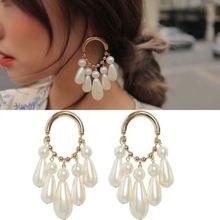 Korean Water Drop Long Earrings For Women Elegant Party Simulated Pearl Earrings 2018 New Trendy Jewelry Accessories White Gift