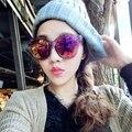 Женская Мужчины УФ 400 Заклепки Пластиковой Рамке Круглый Оттенки Негабаритных Солнцезащитные Очки Очки