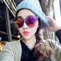 Womens Men UV 400 Rivet Plastic Frame Round Shades Oversized Sunglasses Eyewear