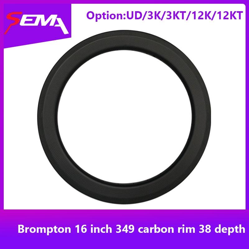 Carbon wheel for brompton bike SEMA 16 inch 349 carbon rim 38 depth super light 240g