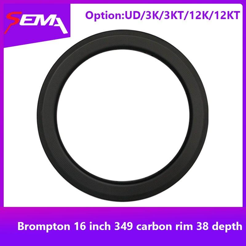 Roue en carbone pour vélo brompton SEMA 16 pouces 349 jante en carbone 38 profondeur super légère 240g jantes en carbone garantie à vie