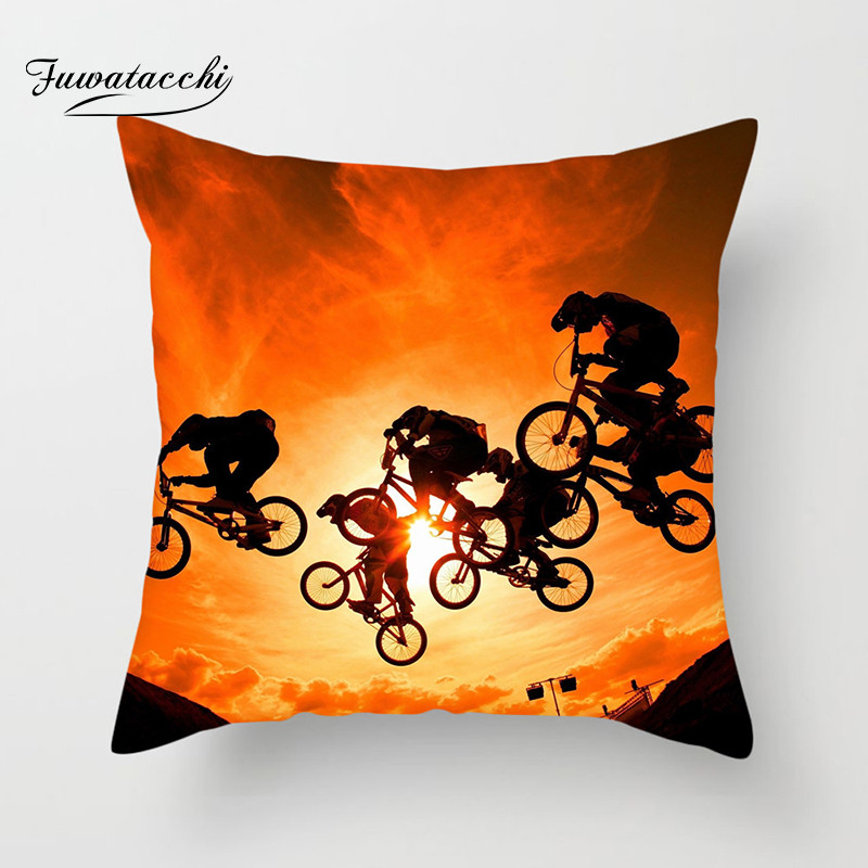 Fuwatacchi Extreme Sports Cushion Cover Motorcycle Stunts Throw Pillow Car Home Decor Decoration Sofa Decorative Pillowcase