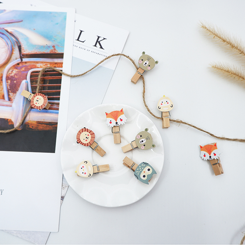 10 Pcs/pack Kawaii Fox Lion Wooden Clip Photo Craft DIY Clips With Hemp Rope  Clothespin Craft Decoration Clips Pegs
