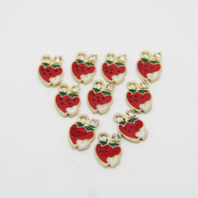 LEENAHAR-10pcs/lot Zinc Alloy Gold Tone 9*14MM Enamel Mini Heart Strawberry With Rhinestone Charm Pendant DIY Jewelry Findings