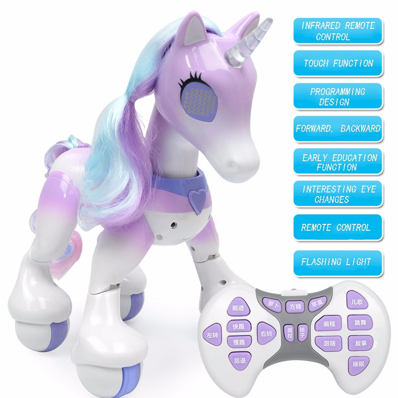 купить Electric Smart Horse Remote Control Unicorn Children\'s New Robot Touch Induction Electronic Pet Educational Toy недорого
