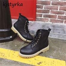 Kjstyrka botas botines mujer 2018 moda personalidade confortável outono inverno high top tornozelo mulheres inicialização não-slip bota feminina