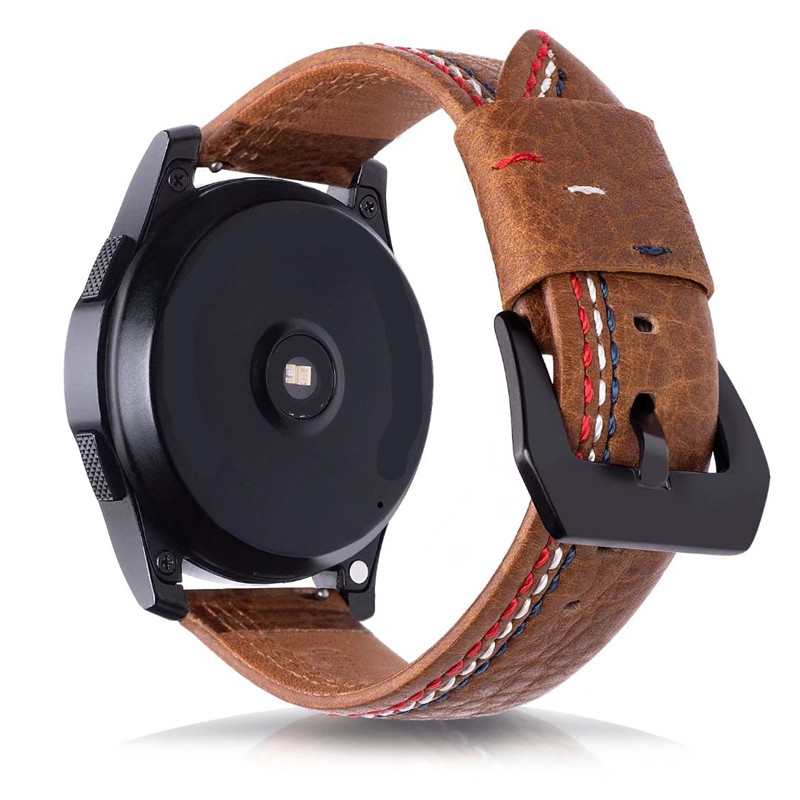 22MM Retro Vintage Genuine Leather Strap Replacement for Samsung Gear S3 Classic Frontier and Moto 360 2nd Gen 46mm Watch for moto 360 1nd gen smart watch quality leather strap 22mm brown mens watch accessories