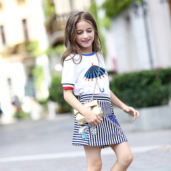 Kids Girls Skirts Suits 10 12 years Summer Clothing Set for Teenage Girl Cartoon Tops Striped Skirts Teen Girls Outfit